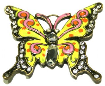 1 x Antique Brass Butterfly Pendant in Yellow / Orange / Pink 60x52mm - S.F03 - WC046 - 2502120-3